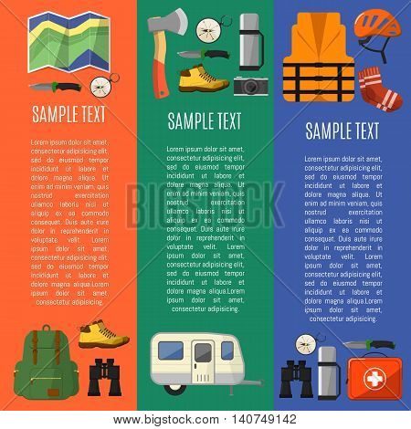 Outdoor camping and hiking concept flat vector illustration. Vector icons of outdoor adventure and camping or hiking life. Outdoor tourism equipment. Camping icon set. Hike. Camping and hiking symbols and hiking icons set. Equipment for hiking and camping
