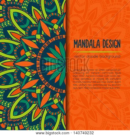 Vector Vintage Business Card. Mandala Design. Ornamental Doodle Background.