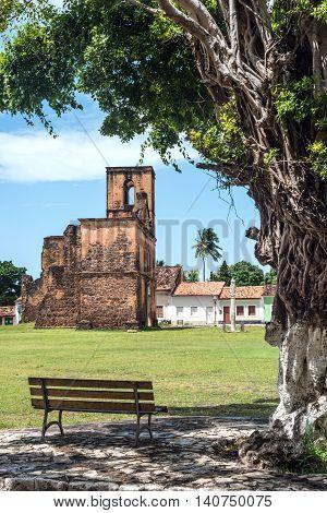 Iconic views of Brazil: Matriz Church ruins in the historic city of Alcantara near Sao Luis Maranhao State Brazil
