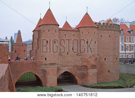 Warsaw Barbican, semicircular fortified outpost in Warsaw, Poland