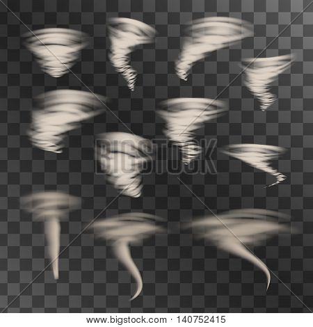 Tornado on transparent background, vector set. Designs with hurricane. Vector illustration.