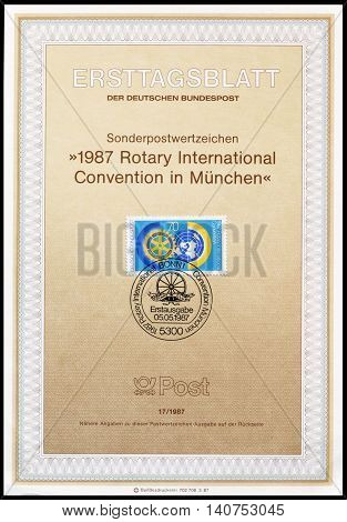 GERMANY - CIRCA 1987 : Cancelled First Day Sheet printed by Germany, that shows Rotary emblem.
