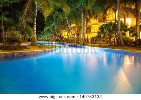 Night View at the shining tropical pool