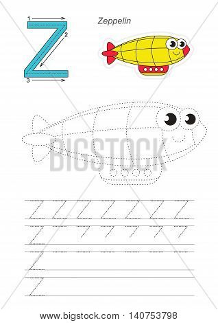 Vector illustrated worksheet. Learn handwriting. Gaming and education. Page to be traced. Easy educational kid game. Simple level. Complete eng alphabet. Tracing worksheet for letter Z. Funny Zeppelin