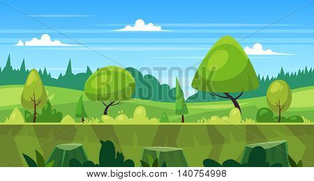 Seamless background for games apps or mobile development. Cartoon nature landscape with forest. Vector illustration for design graphics print or book . Stock illustration.