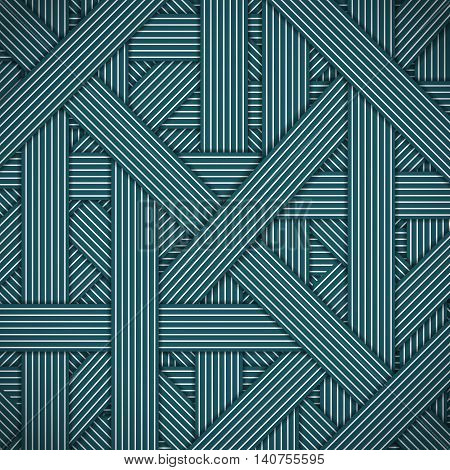 Abstract stripped and lines, blue geometric background. Chaotic interweaving strips. Modern stylish graphic texture for design, wallpaper.