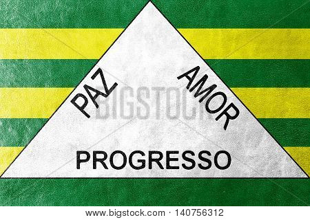 Flag Of Ferros, Minas Gerais State, Brazil, Painted On Leather Texture