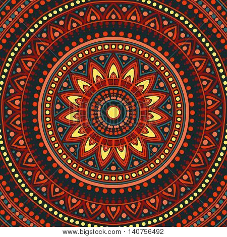 Drawing of a floral mandala in red, blue, yellow and orange colors on a dark grey background