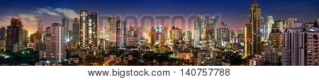 City of Bangkok Sukhumvit skyline night shot panorama