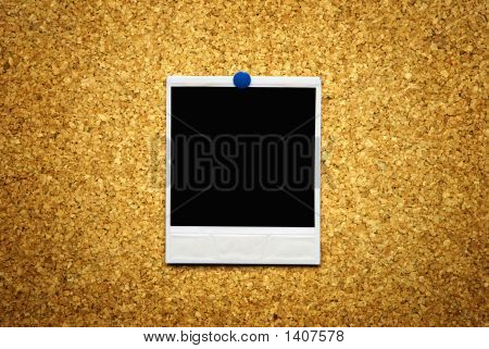 Cork Background With Empty Blank Of
