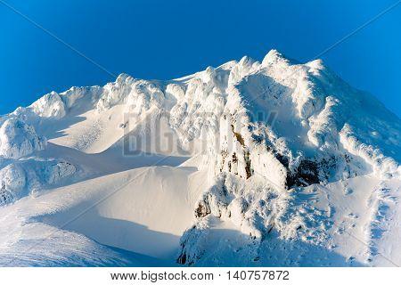 Sunset Mount Hood Cascade Range Ski Resort Area
