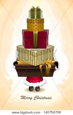 Vector Santa Claus holding many Christmas shopping gift boxes