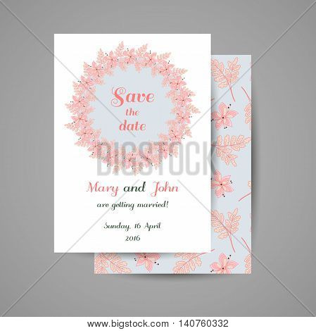 Wedding invitation with hand drawn pink flowers on blue background. Vector illustration.