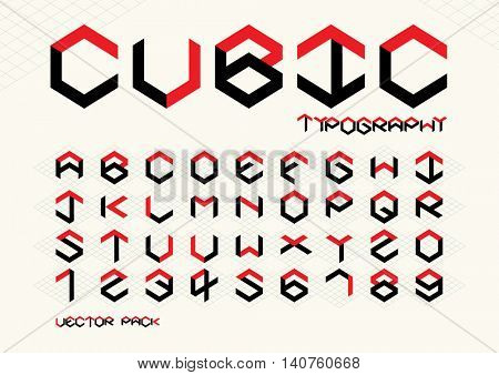 Vector of stylized cubical font and alphabet