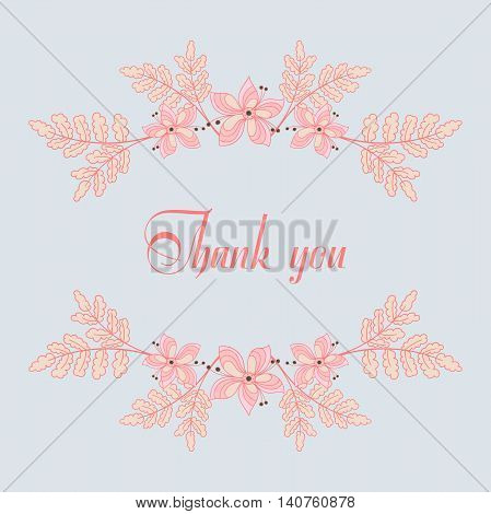 Postcard with hand drawn pink floral elements. Vector illustration.