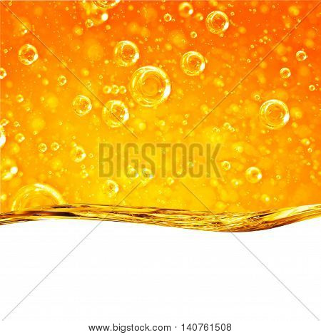 Liquid wave yellow for the project oil honey beer or other variants on white background area for text
