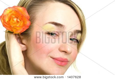 Beautiful Blonde Girl With Rose In Her Hair