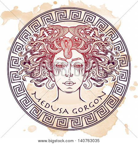 Medusa Gorgon. Ancient Greek mythological creature with face of a woman and snake hair. Legendary beast. Halloween concept. Hand drawn sketch on grunge background. EPS10 Isolated vector illustration.