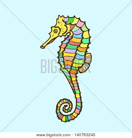 Vector hippocampus. Hand drawn cartoon sea horse