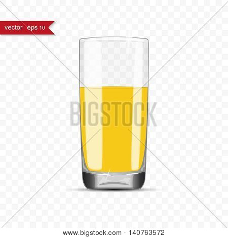 Full glass of juice cup with shadow, vector illustration