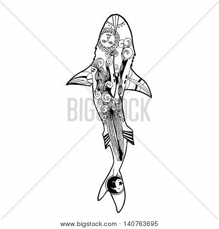 Vector illustration of zentangle shark. Vector coloring book shark top view.