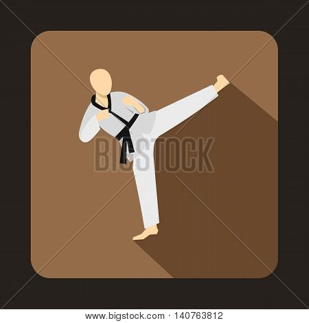 Wushu fighting style icon in flat style on a coffee background