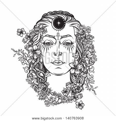 White Goddess. Universal deiety in most of the pagan religions worldwide. Symbol of the female element in nature. Hand drawn artwork. Religion, spirituality, wicca. EPS10 Isolated vector illustration.
