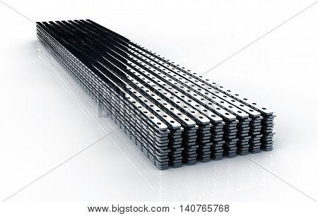 Close up of metal drywall profiles 3D render