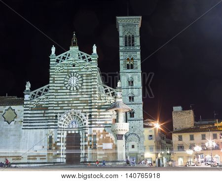 PRATO ITALY - JULY 11: Nightview of the Prato Cathedral on July 11 2016
