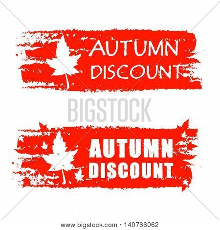 autumn discount - orange drawn banners with text and fall leaf, business concept, vector