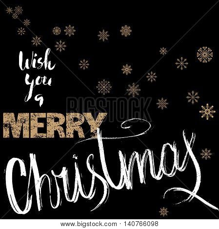 Merry Christmas gold and white lettering design on black background with golden snowflakes. Vector illustration. Snowflakes background. EPS 10