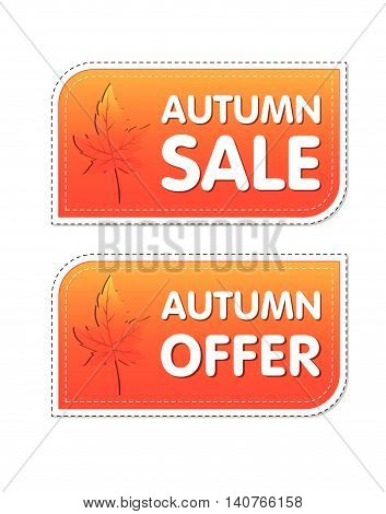 autumn sale and offer - orange labels with text and fall leaf, business concept, vector