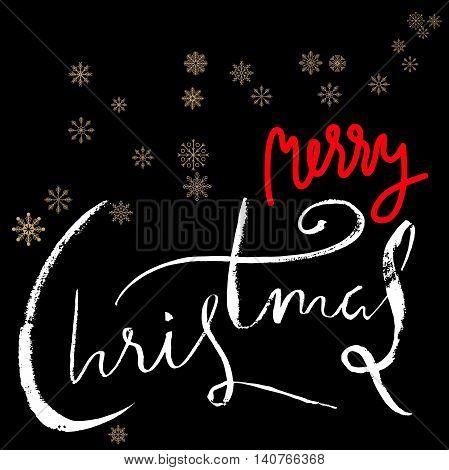 Merry Christmas red and white lettering design on black background with golden snowflakes. Vector illustration. Snowflakes background. EPS 10