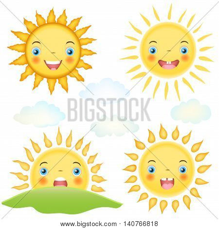 set of cartoon sun character and clouds on white. smiley faces for child theme illustrations. vector
