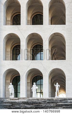 view fo the monumental design of Palazzo della civilta Italiana in Rome poster