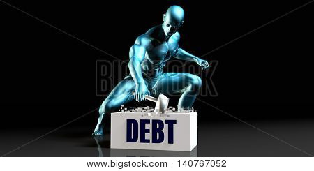 Get Rid of Debt and Remove the Problem 3D Illustration Render
