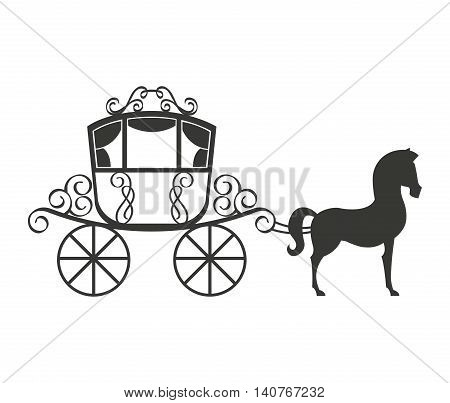 horse equine carriage icon vector illustration design