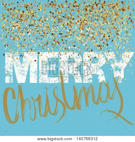 Merry Christmas grunge lettering design on blue background with golden confetti. Holiday lettering card. Vector illustration. Christmas background. EPS 10