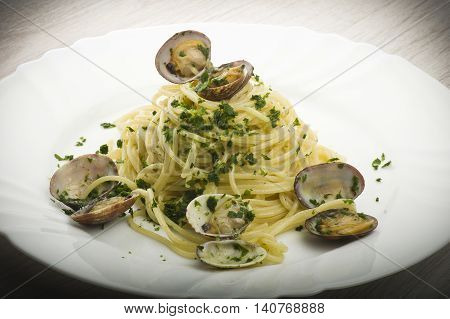 Italian Spaghetti with Clam cooked close up on plate