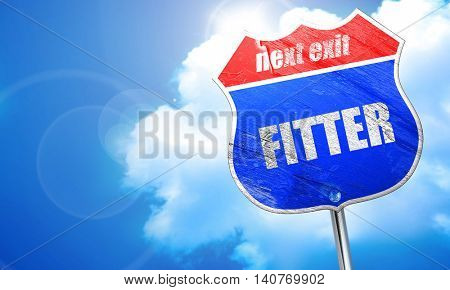 fitter, 3D rendering, blue street sign poster