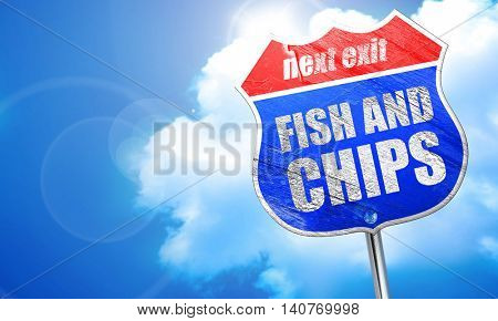 fish and chips, 3D rendering, blue street sign
