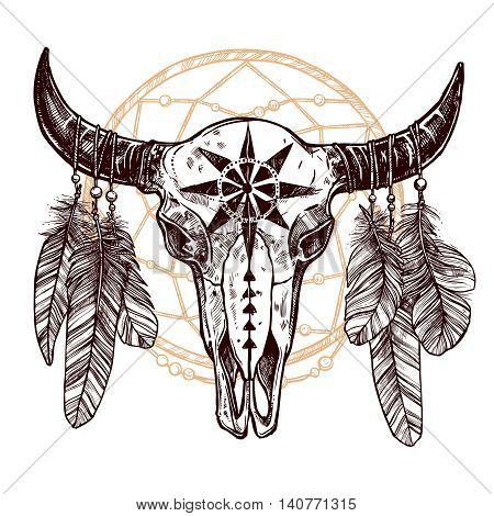 Buffalo Skull With Feathers And Dreamcatcher. Hand Drawn Scetch. Native American Totem
