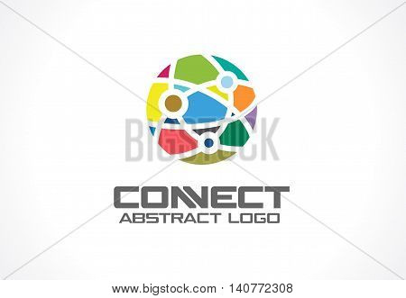 Network, social media and internet connect logotype idea. World communication, interaction, integrate concept. Color Vector icon. Abstract business company logo. Corporate identity design element.