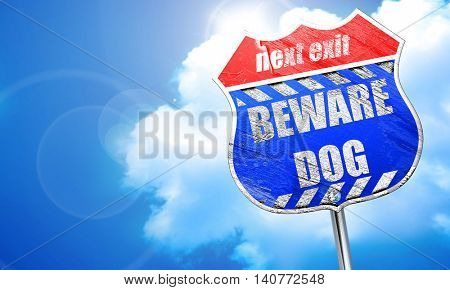 Beware of dog sign, 3D rendering, blue street sign
