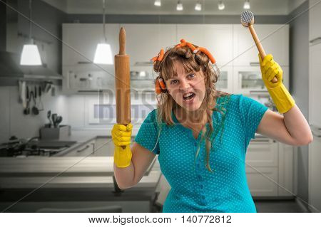 Crazy Housewife With Roller And Meat Hammer