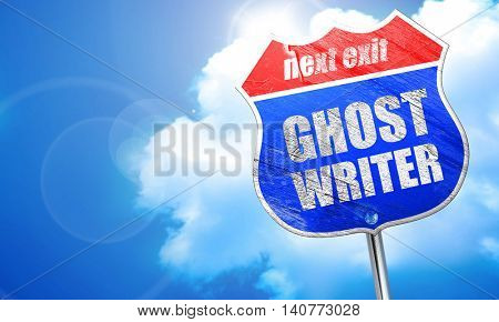 ghost writer, 3D rendering, blue street sign poster