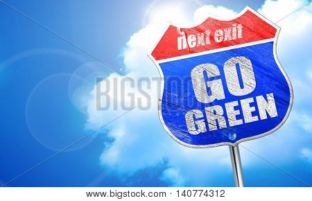 go green, 3D rendering, blue street sign