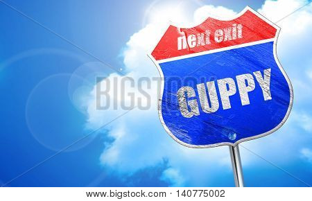 guppy, 3D rendering, blue street sign