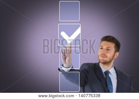 Ticking Check Box on Touch Screen Businessman Working Conceptual