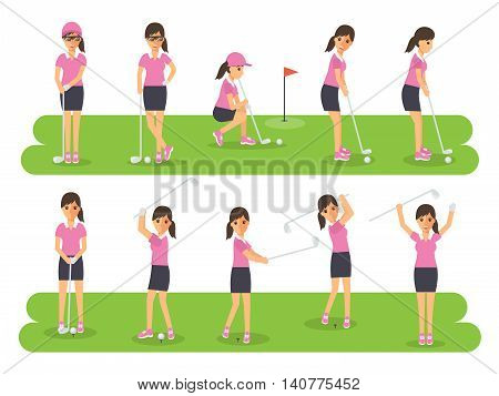 Female golf sport athletes woman players playing teeing off and putting with golf club. Flat design people characters.